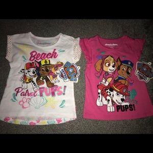 NWT Girls 3T Lot of 2 Paw Patrol Tee T Shirts Pups
